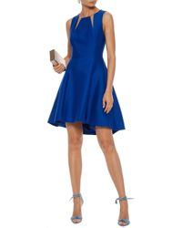 Halston Heritage - Woman Tulle-trimmed Cotton And Silk-blend Mini Dress Royal Blue - Lyst