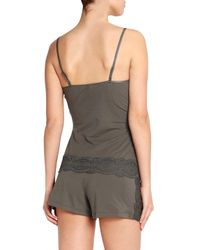 Cosabella - Lace-trimmed Cotton-blend Jersey Pajama Shorts Army Green - Lyst