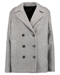 MSGM - Gray Brushed Twill Coat - Lyst