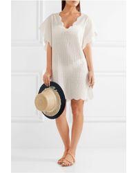 Marysia Swim White Shelter Island Scalloped Crocheted Cotton Tunic