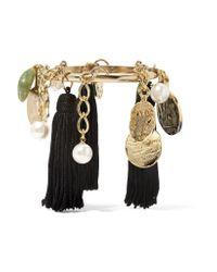 Oscar de la Renta - Black Gold-plated, Tasseled Silk, Faux Pearl And Stone Bracelet - Lyst