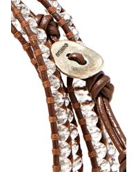Chan Luu - Gray Silver-tone Beaded Leather And Cord Wrap Bracelet - Lyst