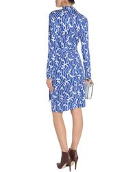 Diane von Furstenberg - Jeanne Printed Silk-jersey Wrap Dress Bright Blue - Lyst