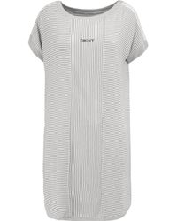 DKNY - Gray Striped Modal-blend Mini Dress - Lyst