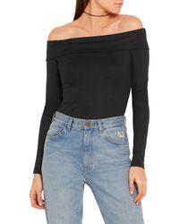 Tibi - Black Off-the-shoulder Wool-jersey Bodysuit - Lyst