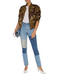 Re/done - Blue High-rise Patchwork Slim-leg Jeans Mid Denim - Lyst