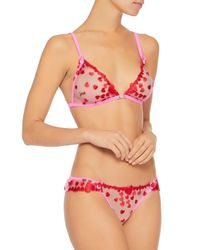 Mimi Holliday by Damaris - Beau Daiquiri Embroidered Tulle Soft-cup Triangle Bra Bright Pink - Lyst