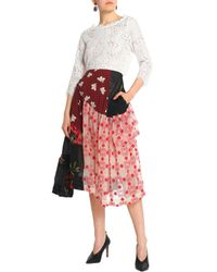 Simone Rocha - Patchwork-effect Layered Checked Crepe And Embroidered Tulle Midi Skirt - Lyst