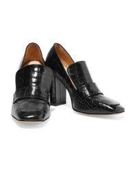 Iris & Ink - Black Croc-effect Leather Pumps - Lyst