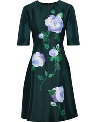 Lela Rose - Green Floral-print Silk-taffeta Mini Dress - Lyst