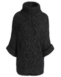 Brunello Cucinelli - Cable-knit Wool-blend Turtleneck Cardigan Forest Green - Lyst