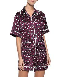 Olivia Von Halle - Purple Woman Millicent Leopard-print Silk-satin Pajama Set Plum - Lyst