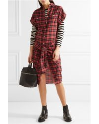 R13 - Red Tie-front Plaid Flannel Shirt Dress - Lyst