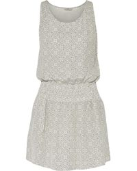 Joie - White Lawska Shirred Printed Washed-silk Mini Dress - Lyst
