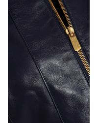 Michael Kors - Blue Leather Jacket - Lyst