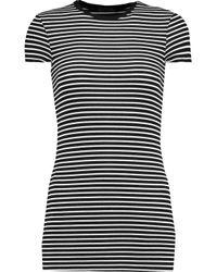 ATM - Black Striped Stretch-micro Modal T-shirt - Lyst