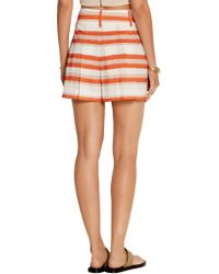 Alice + Olivia - Orange Flutter Striped Crepe De Chine Shorts - Lyst