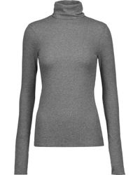 J Brand - Gray Centro Ribbed Stretch-cotton Turtleneck Sweater - Lyst