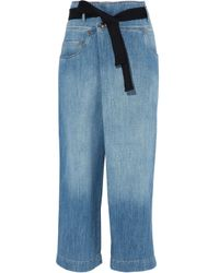 Brunello Cucinelli - Blue Belted Faded High-rise Wide-leg Jeans - Lyst