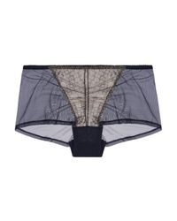 Cosabella - Cleope Low-rise Metallic Lace-paneled Tulle Briefs Storm Blue Size S - Lyst
