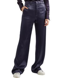 Joseph - Blue Satin-crepe Straight-leg Pants - Lyst