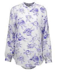 Equipment - Blue Henri Printed Washed-silk Shirt - Lyst