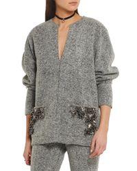 By Malene Birger - Gray Francoise Embellished Boiled Wool-blend Sweater - Lyst
