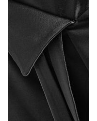 Halston Heritage - Black Wrap-effect Satin-paneled Crepe Skirt - Lyst