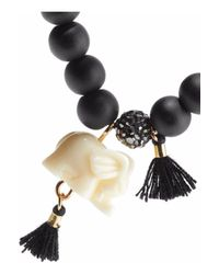 Kenneth Jay Lane - Black Set Of Three Gold-tone Tassel And Resin Beaded Bracelets - Lyst