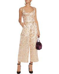 Dolce & Gabbana - Metallic Embroidered Faille Jumpsuit - Lyst