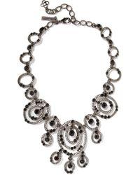 Oscar de la Renta - Black Gunmetal-tone Crystal Necklace - Lyst