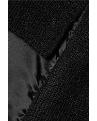 MM6 by Maison Martin Margiela - Black Satin-paneled Knitted Mini Dress - Lyst