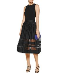 Alice + Olivia - Black Misty Silk-paneled Cotton-blend Sateen Skirt - Lyst