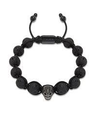 Nialaya - Beaded Bracelet With Lava Stone And Black Cz Diamond Skull for Men - Lyst