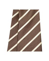 Fumagalli 1891 - Brown And White Stripe Malibu Silk 5-fold Tie for Men - Lyst