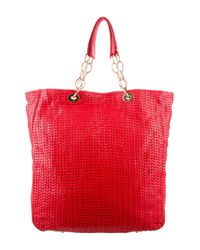 Dior - Metallic Woven Leather Shopper Red - Lyst