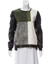Tibi - Black Leather-accented Printed Top - Lyst