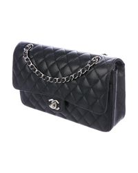 Chanel - Metallic Caviar Classic Medium Double Flap Bag Black - Lyst