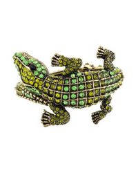 Kenneth Jay Lane - Metallic Embellished Alligator Cuff Gold - Lyst