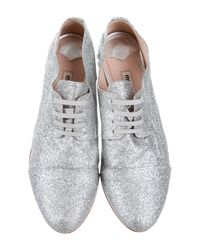 Miu Miu - Metallic Miu Glitter Jeweled Oxfords Silver - Lyst