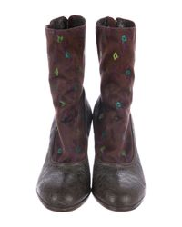 Dries Van Noten - Brown Floral-accented Ankle Boots - Lyst