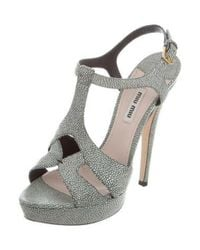 Miu Miu - Blue Miu Stingray Platform Sandals - Lyst