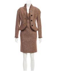 Dior - Brown Wool Fringe-trimmed Dress Set - Lyst