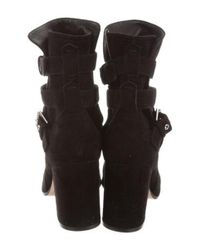 Gianvito Rossi - Black Suede Wrap-around Ankle Boots - Lyst