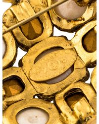 Chanel - Metallic Faux Pearl & Crystal Gripoix Brooch Gold - Lyst