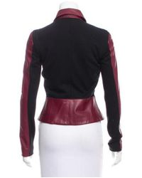 Derek Lam - Red Knit-paneled Leather Jacket Burgundy - Lyst