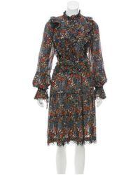 Warm - Black Floral Long Sleeve Midi Dress - Lyst