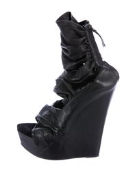 Givenchy - Black Leather Platform Wedges - Lyst