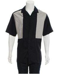 Lanvin - Blue Patchwork Camp-collar Shirt Navy for Men - Lyst
