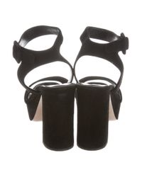 Miu Miu - Black Miu Platform Suede Sandals - Lyst